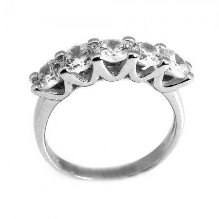 925 Ayar Gümüş Zirkon Taşlı V Tasarım Beştaş Yüzük - Thumbnail