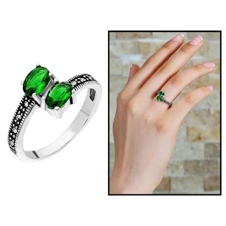 925 Ayar Gümüş Yeşil-Siyah Zirkon Taşlı Yarım Tur Bayan Yüzük - Thumbnail
