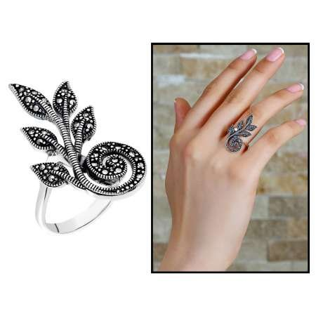 925 Ayar Gümüş Siyah Zirkon Taşlı Sarmaşık Tasarım Bayan Yüzük - Thumbnail