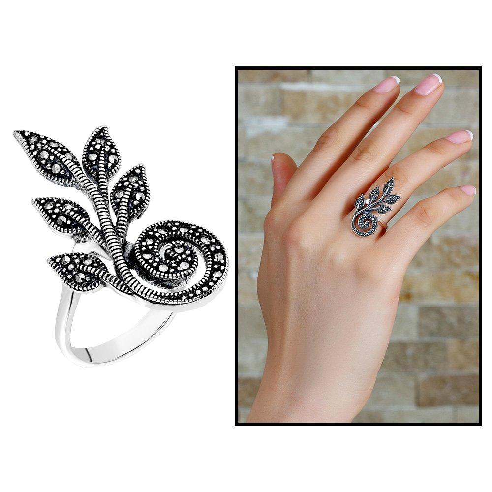 925 Ayar Gümüş Siyah Zirkon Taşlı Sarmaşık Tasarım Bayan Yüzük