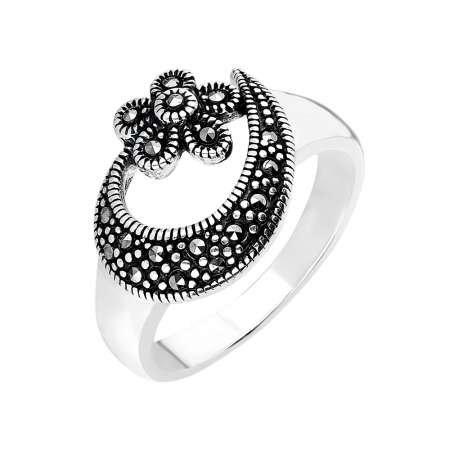 925 Ayar Gümüş Siyah Zirkon Taşlı Çiçek-Hilal Tasarım Bayan Yüzük - Thumbnail