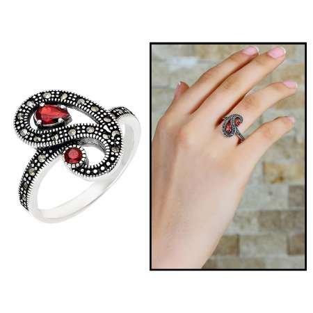 925 Ayar Gümüş Kırmızı-Siyah Zirkon Taşlı Yarım Tur Bayan Yüzük - Thumbnail