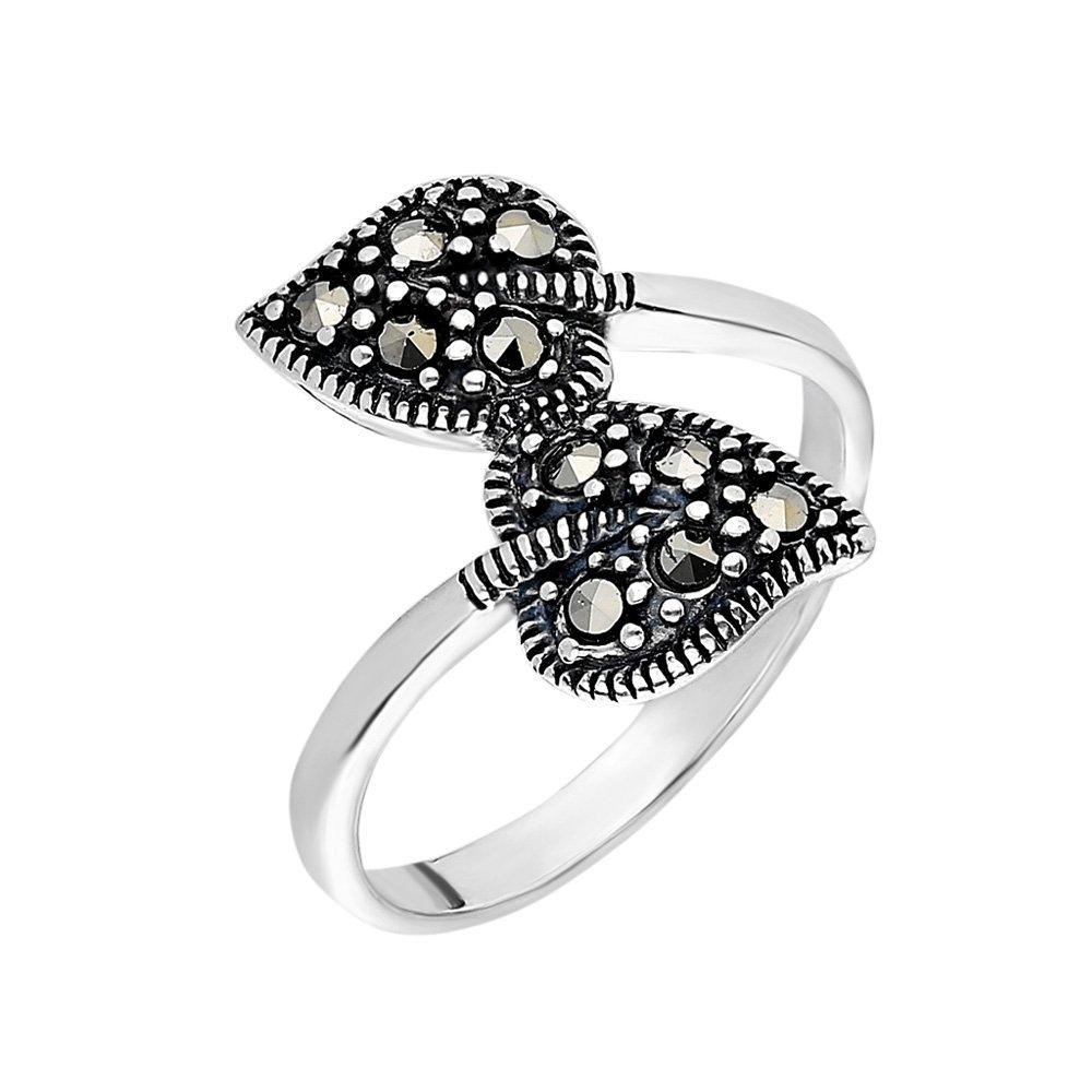 925 Ayar Gümüş Siyah Zirkon Taşlı Çift Yaprak Tasarım Bayan Yüzük