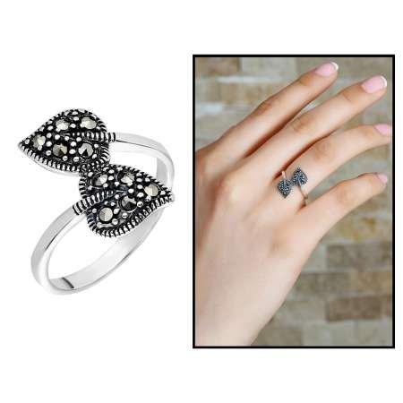 925 Ayar Gümüş Siyah Zirkon Taşlı Çift Yaprak Tasarım Bayan Yüzük - Thumbnail