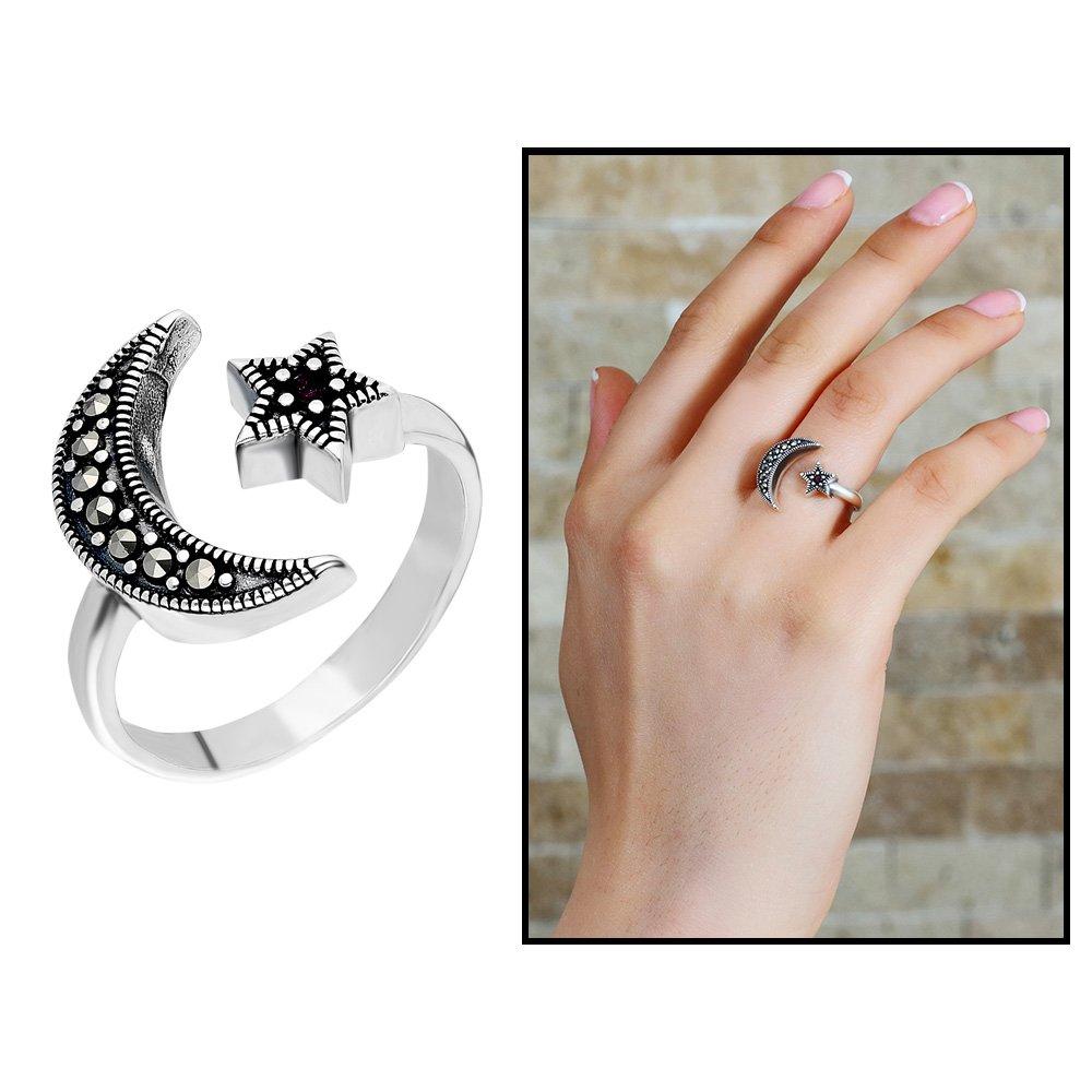 925 Ayar Gümüş Siyah Zirkon Taşlı Ayyıldız Tasarım Bayan Yüzük