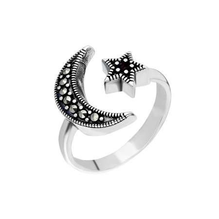925 Ayar Gümüş Siyah Zirkon Taşlı Ayyıldız Tasarım Bayan Yüzük - Thumbnail