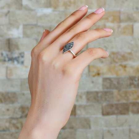 925 Ayar Gümüş Zirkon Taşlı Yaprak Tasarım Bayan Yüzük - Thumbnail