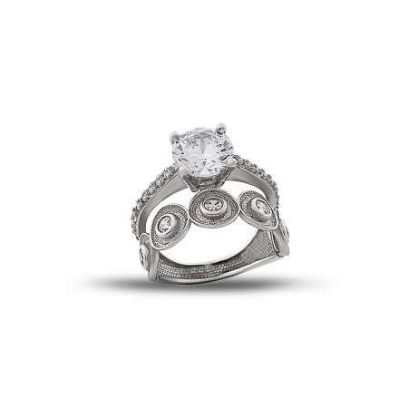 925 Ayar Gümüş Zirkon Taşlı Göz Tasarım Yarım Tur Tektaş Yüzük - Thumbnail