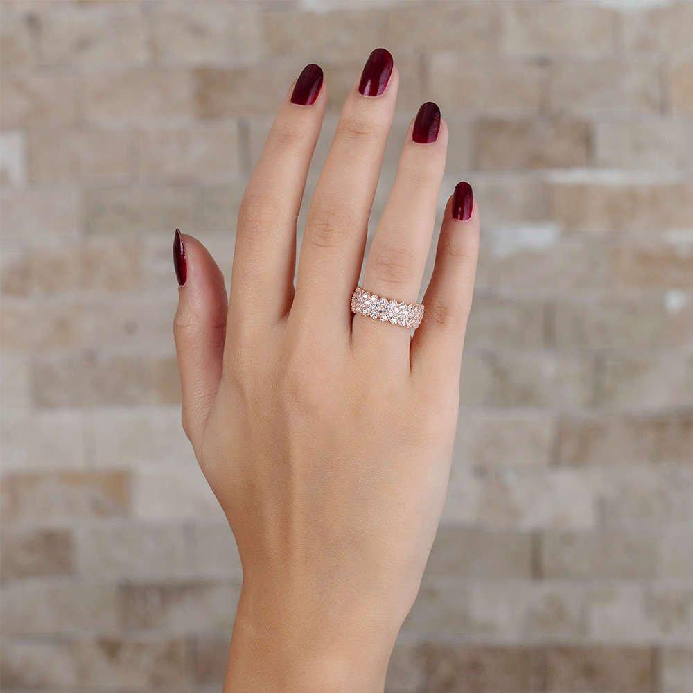 925 Ayar Gümüş Zirkon İşlemeli Rose Renk Bayan Yüzük