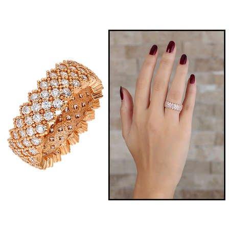 925 Ayar Gümüş Zirkon İşlemeli Rose Renk Bayan Yüzük - Thumbnail