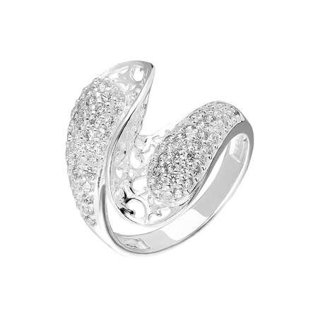 925 Ayar Gümüş Zirkon Taşlı Dalga Tasarım Bayan Yüzük - Thumbnail