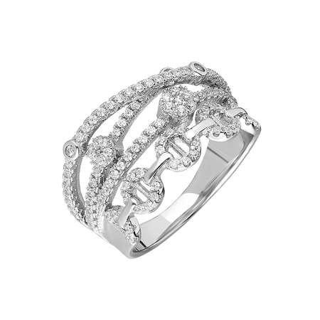 925 Ayar Gümüş 4 Sıra Zirkon Taşlı Zincir Tasarım Bayan Yüzük - Thumbnail