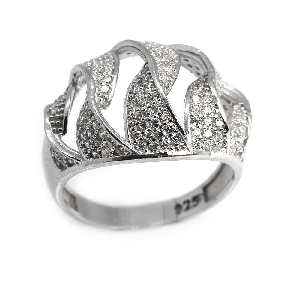 925 Ayar Gümüş Zirkon Taşlı Zigzag Tasarım Bayan Yüzük