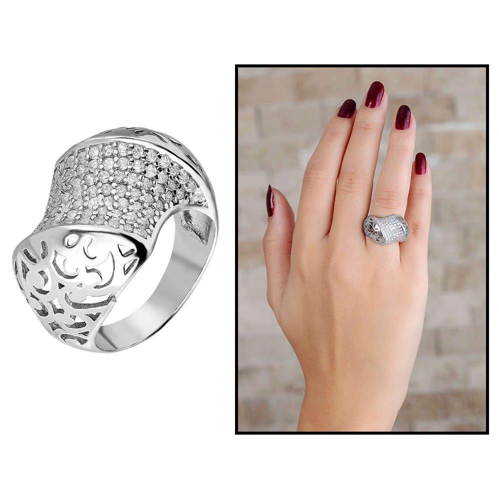 925 Ayar Gümüş Zirkon Taş İşlemeli Özel Tasarım Bayan Yüzük