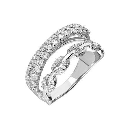925 Ayar Gümüş Zirkon Taş İşlemeli Zincir Tasarım Bayan Yüzük - Thumbnail