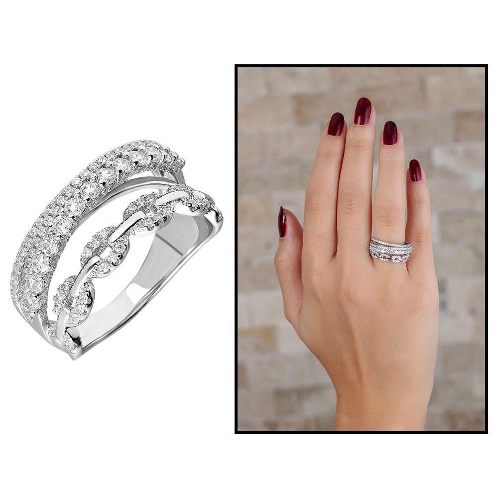 925 Ayar Gümüş Zirkon Taş İşlemeli Zincir Tasarım Bayan Yüzük
