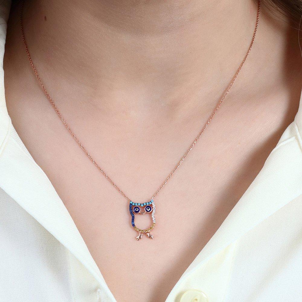Renkli Zirkon Taşlı Baykuş Tasarım 925 Ayar Gümüş Bayan Kolye
