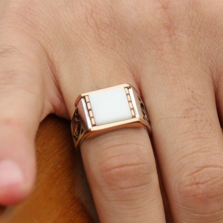 925 Ayar Gümüş Beyaz Oniks Taşlı Tuğra Tasarım Yüzük - Thumbnail