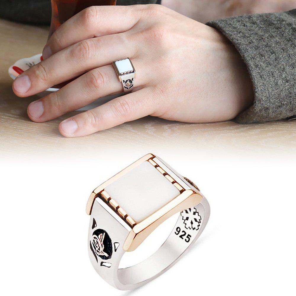 925 Ayar Gümüş Beyaz Oniks Taşlı Tuğra Tasarım Yüzük