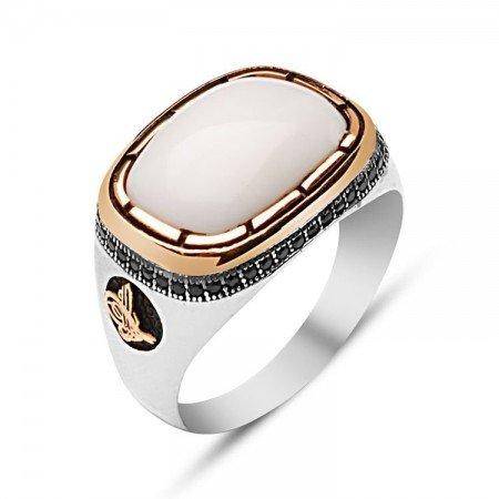 925 Ayar Gümüş Beyaz Oniks Taşlı Yüzük - Thumbnail