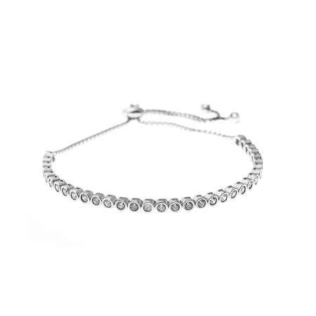 Beyaz Zirkon Taş İşlemeli 925 Ayar Gümüş Bayan Bileklik - Thumbnail
