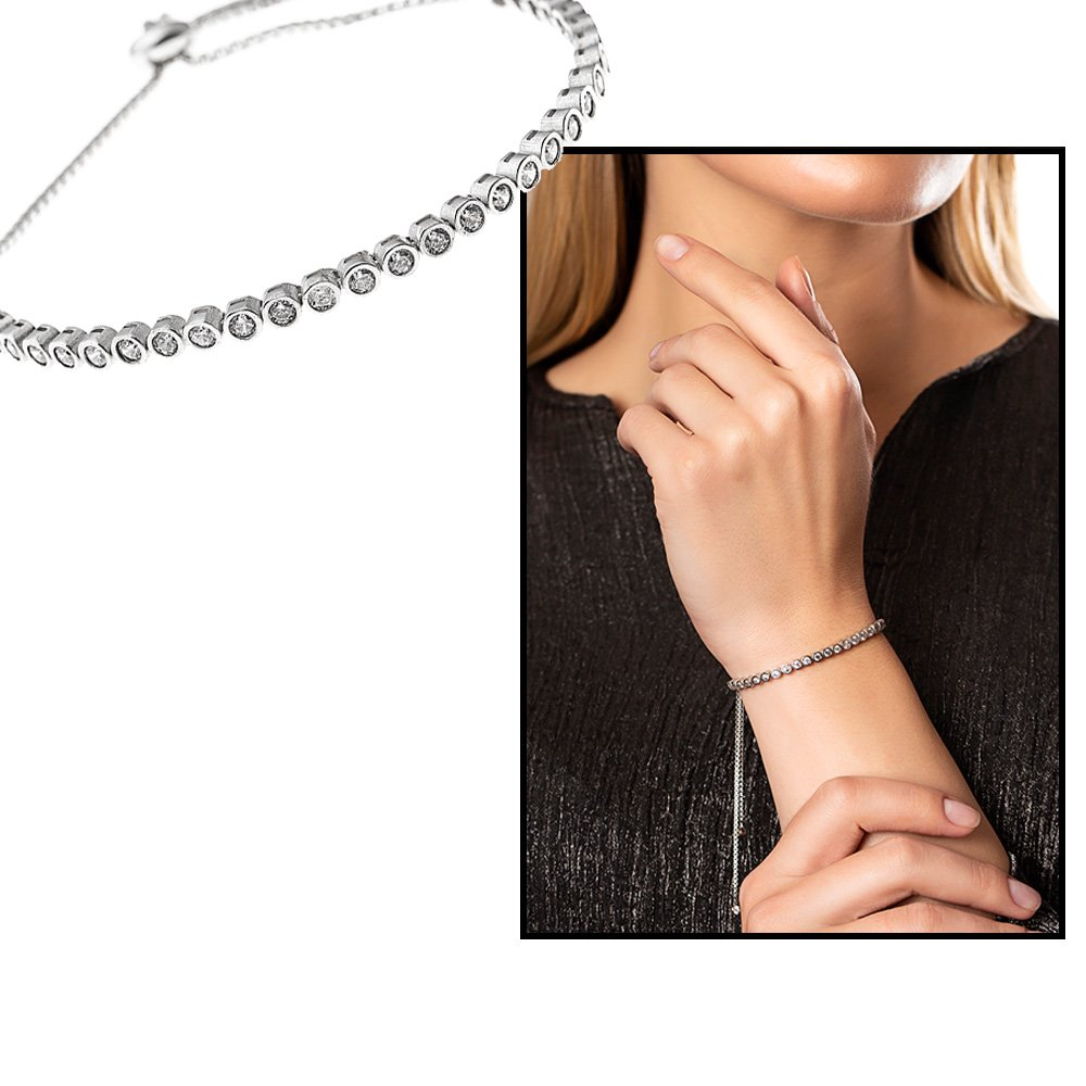 Beyaz Zirkon Taş İşlemeli 925 Ayar Gümüş Bayan Bileklik