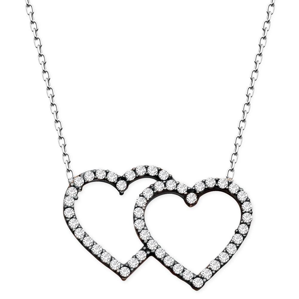 925 Ayar Gümüş Beyaz Zirkon Taşlı Çift Kalp Kolye