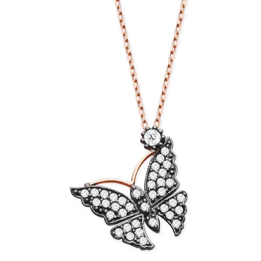 925 Ayar Gümüş Beyaz Zirkon Taşlı Kelebek Kolye