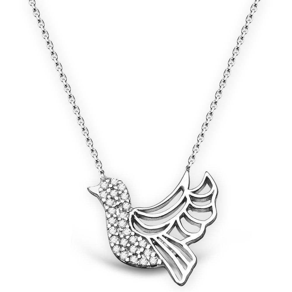 925 Ayar Gümüş Beyaz Zirkon Taşlı Kuş Tasarım Kolye