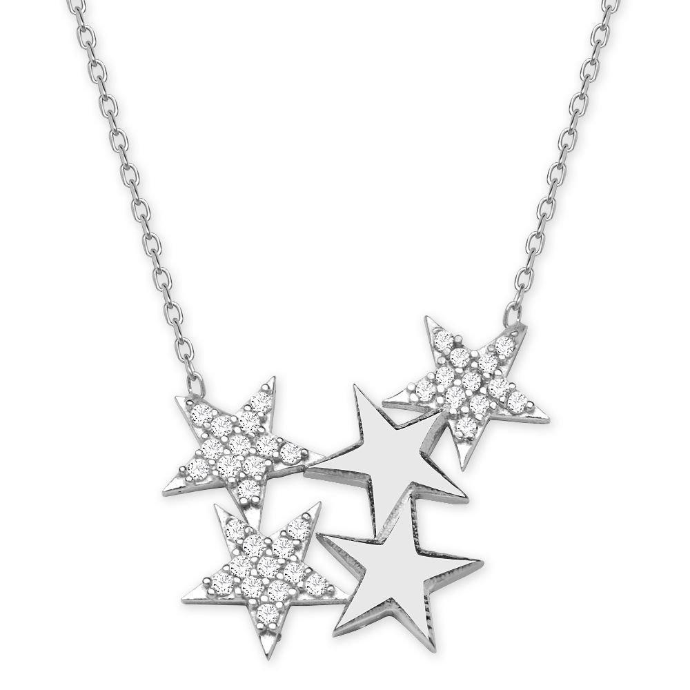 925 Ayar Gümüş Beyaz Zirkon Taşlı Yıldızlar Kolye