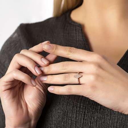 925 Ayar Gümüş Beyaz Zirkon Taşlı Baklava Tasarım Yarım Tur Bayan Yüzük - Thumbnail