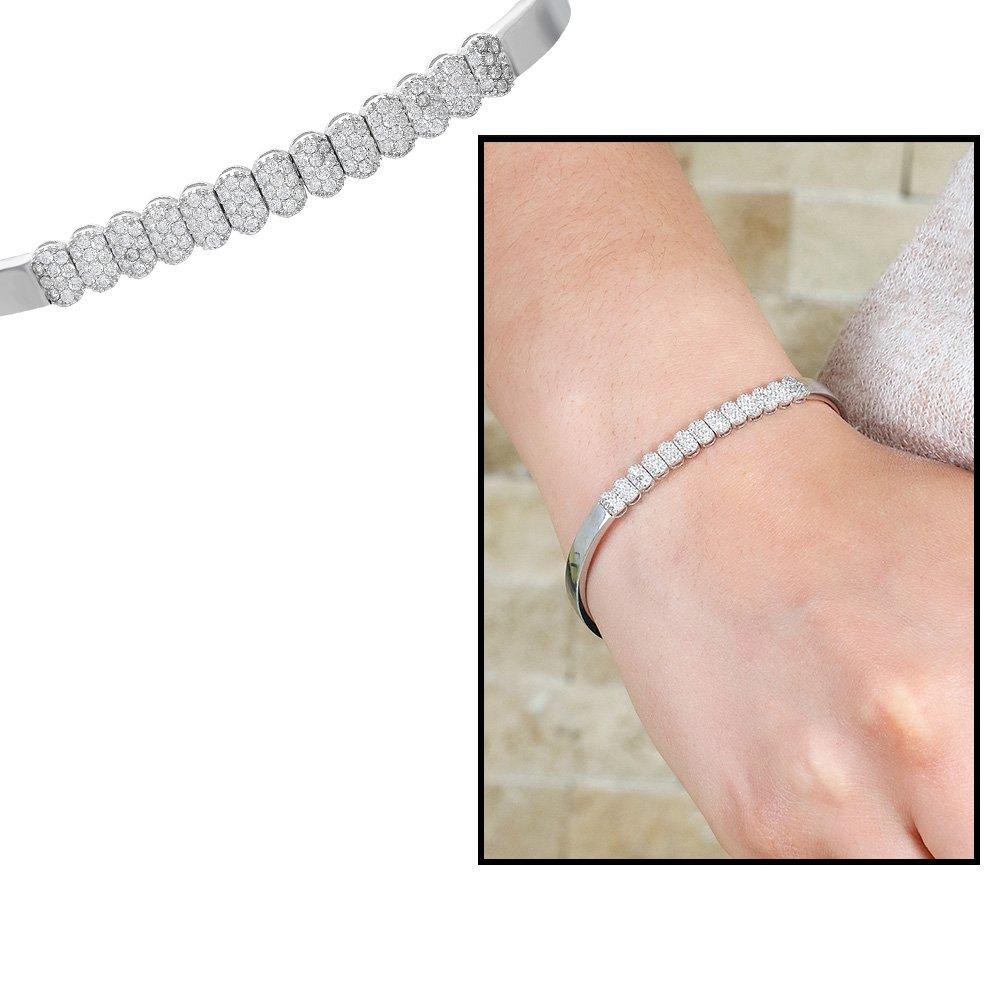 Sıralı Zirkon Taş İşlemeli 925 Ayar Gümüş Su Yolu Bayan Bileklik