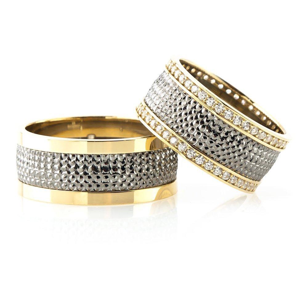 Yoğun İşlemeli Gold-Gri Renk 925 Ayar Gümüş Çift Alyans