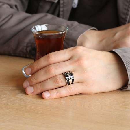 Özel Tasarım Zirkon Taş İşlemeli Siyah Oniks Taşlı 925 Ayar Gümüş Erkek Yüzük - Thumbnail