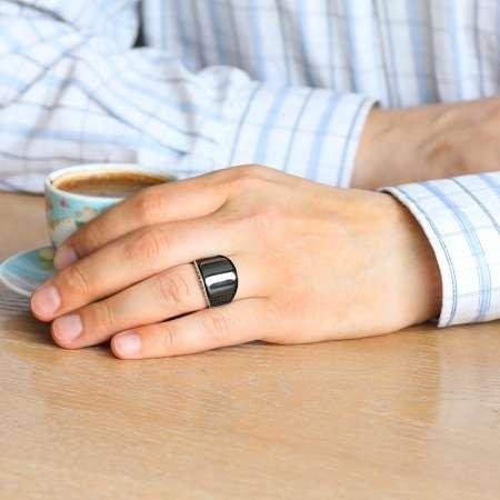 Zirkon Taş İşlemeli Siyah Bombeli Oniks Taşlı 925 Ayar Gümüş Erkek Yüzük - Thumbnail