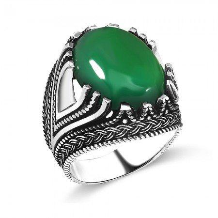 Zincir Desen İşlemeli Yeşil Akik Taşlı 925 Ayar Gümüş Erkek Yüzük - Thumbnail