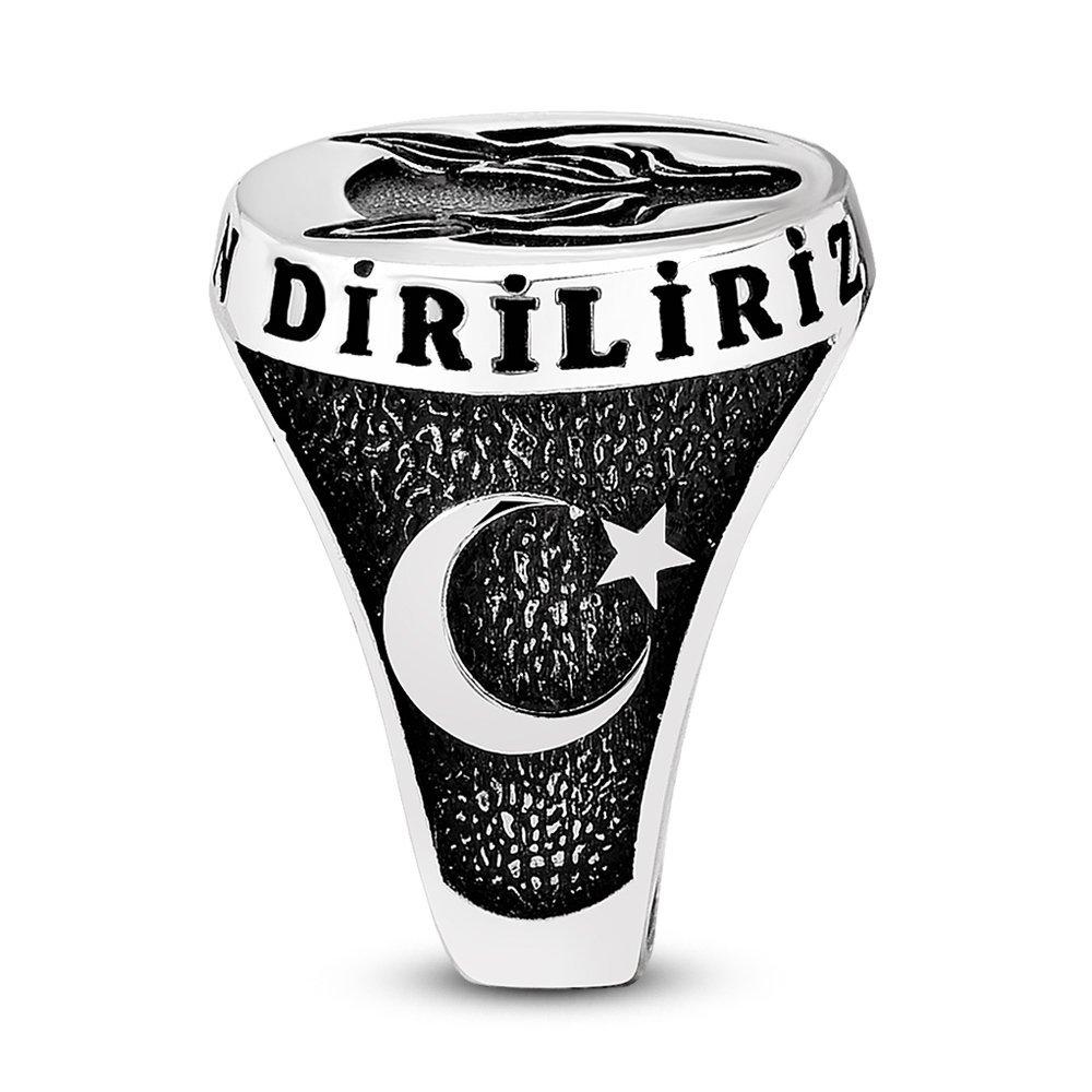 Ayyıldız İşlemeli Kurt Motifli 925 Ayar Gümüş Börü Yüzüğü