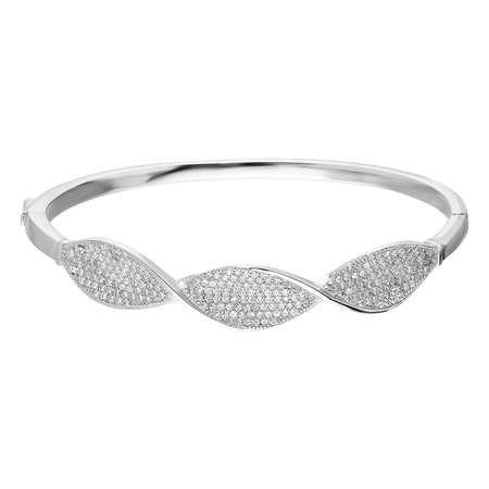 Zirkon Taşlı Burgu Tasarım 925 Ayar Gümüş Kelepçe Bayan Bileklik - Thumbnail