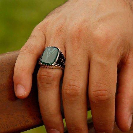 925 Ayar Gümüş Çapa Detaylı Akik Taşlı Yüzük - Thumbnail