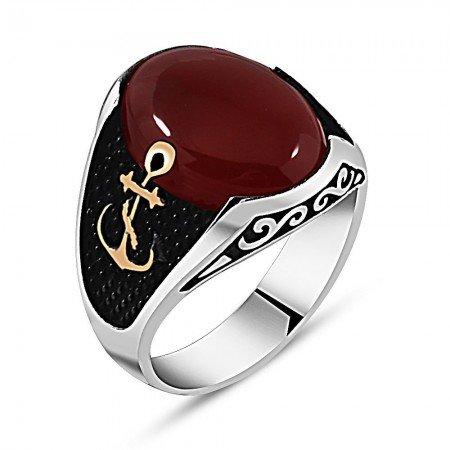 925 Ayar Gümüş Çapa Detaylı Kırmızı Akik Taşlı Yüzük - Thumbnail