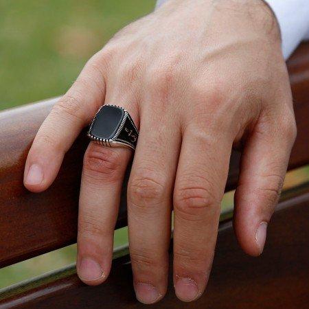 925 Ayar Gümüş Çapa Detaylı Oniks Taşlı Yüzük (Model-2) - Thumbnail