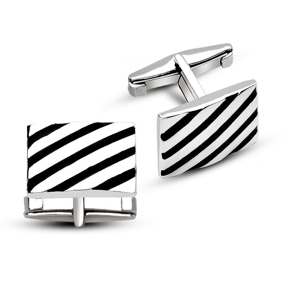 925 Ayar Gümüş Çapraz Şerit Tasarımlı Kol Düğmesi