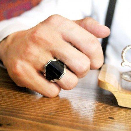 Siyah Oniks Taşlı 925 Ayar Gümüş Cevahir Yüzüğü - Thumbnail