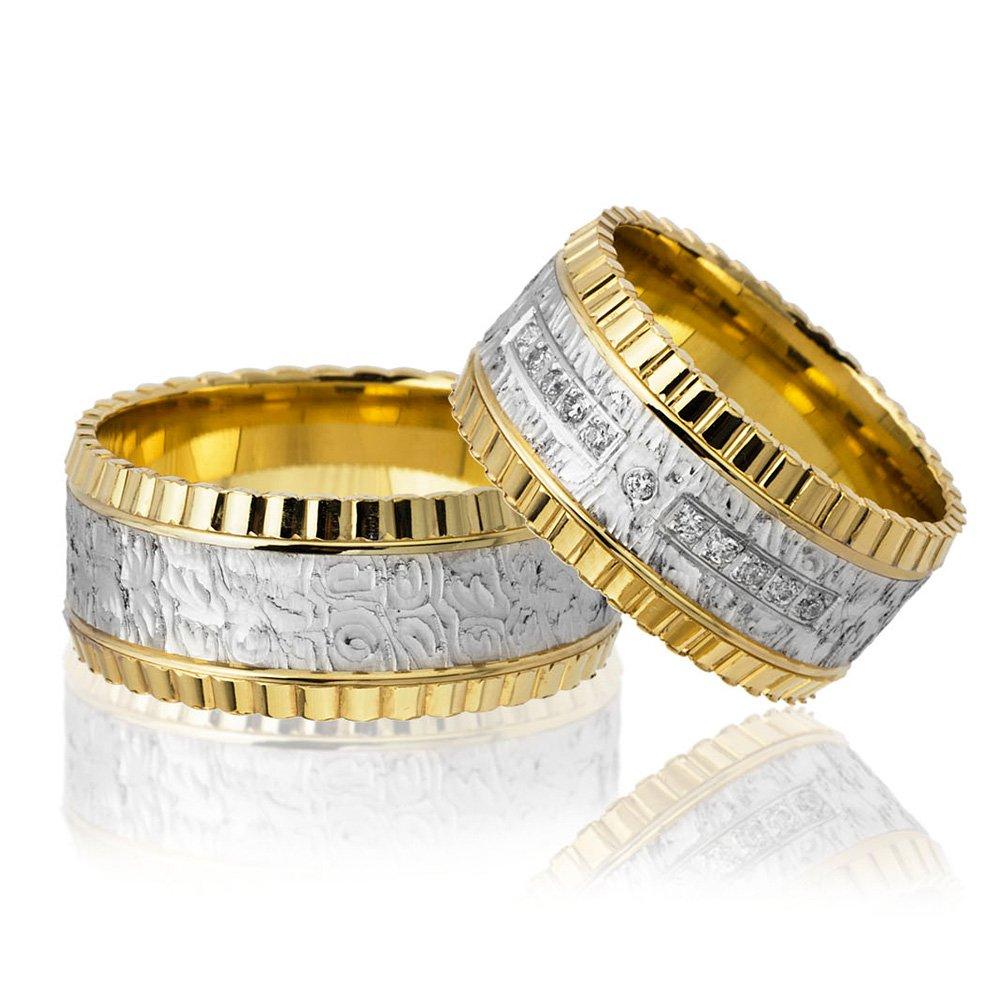Dörtgen Desen İşlemeli 925 Ayar Gümüş Çift Alyans