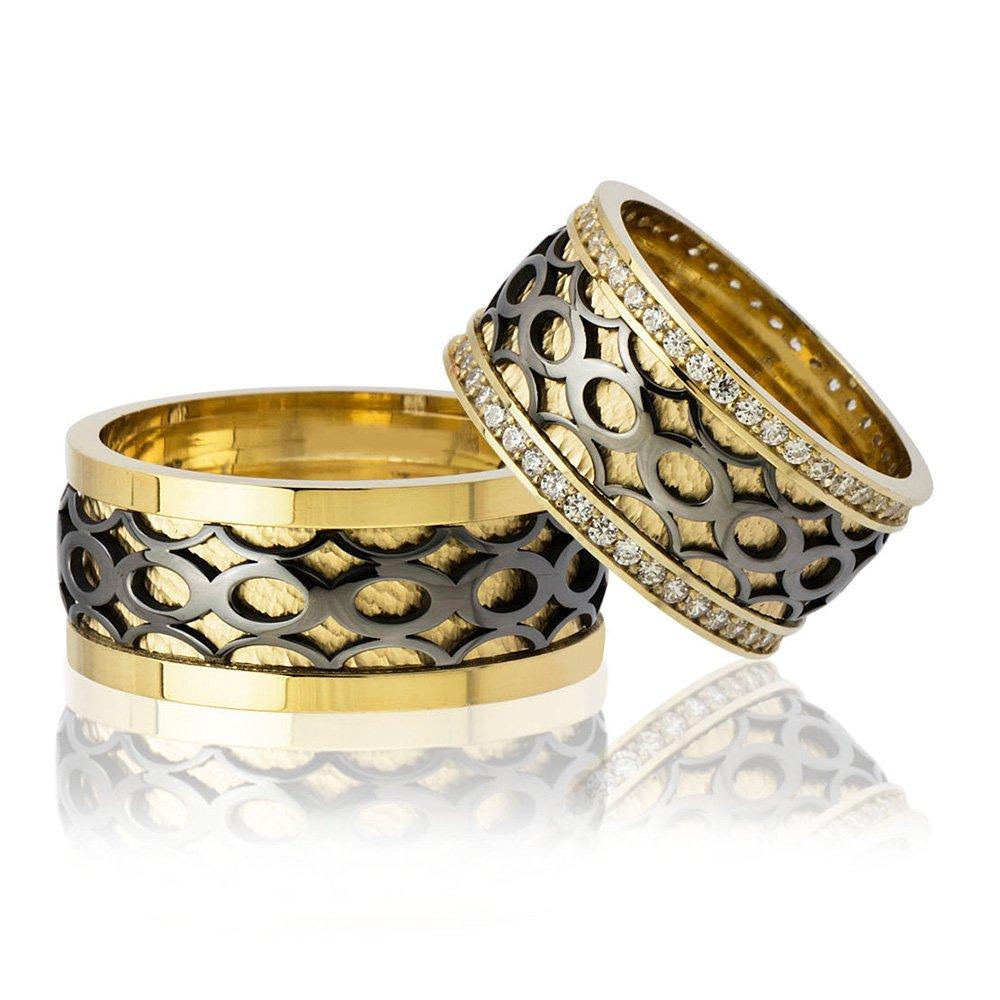 Sonsuzluk Desen Motifli Gold-Siyah Renk 925 Ayar Gümüş Çift Alyans