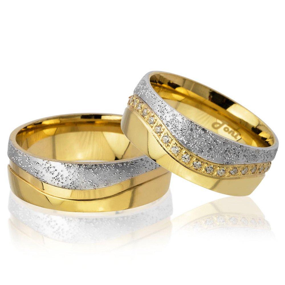 Su Yolu Tasarım Gold-Gri Renk 925 Ayar Gümüş Çift Alyans