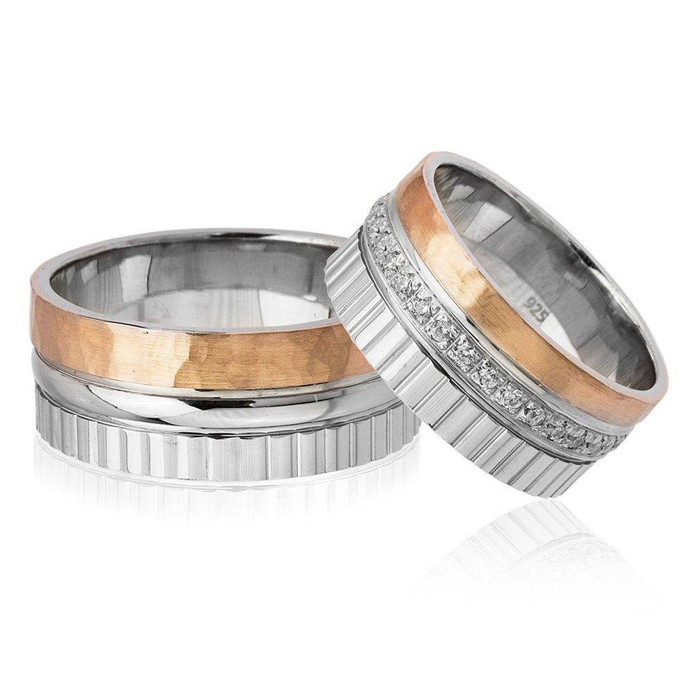 Üç Şerit Tasarım 925 Ayar Gümüş Çift Alyans