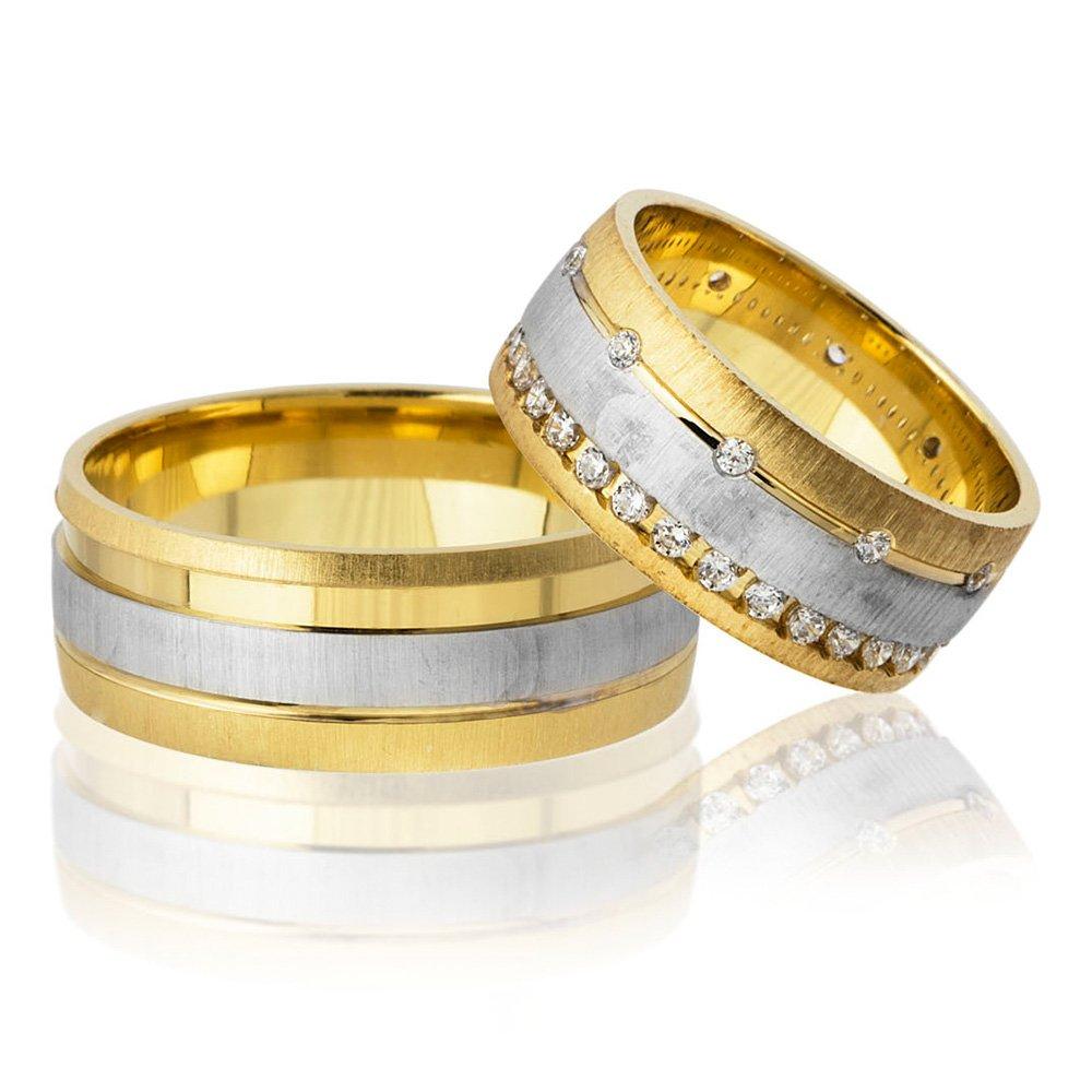Tek Şerit Tasarım Gold-Gri Renk 925 Ayar Gümüş Çift Alyans