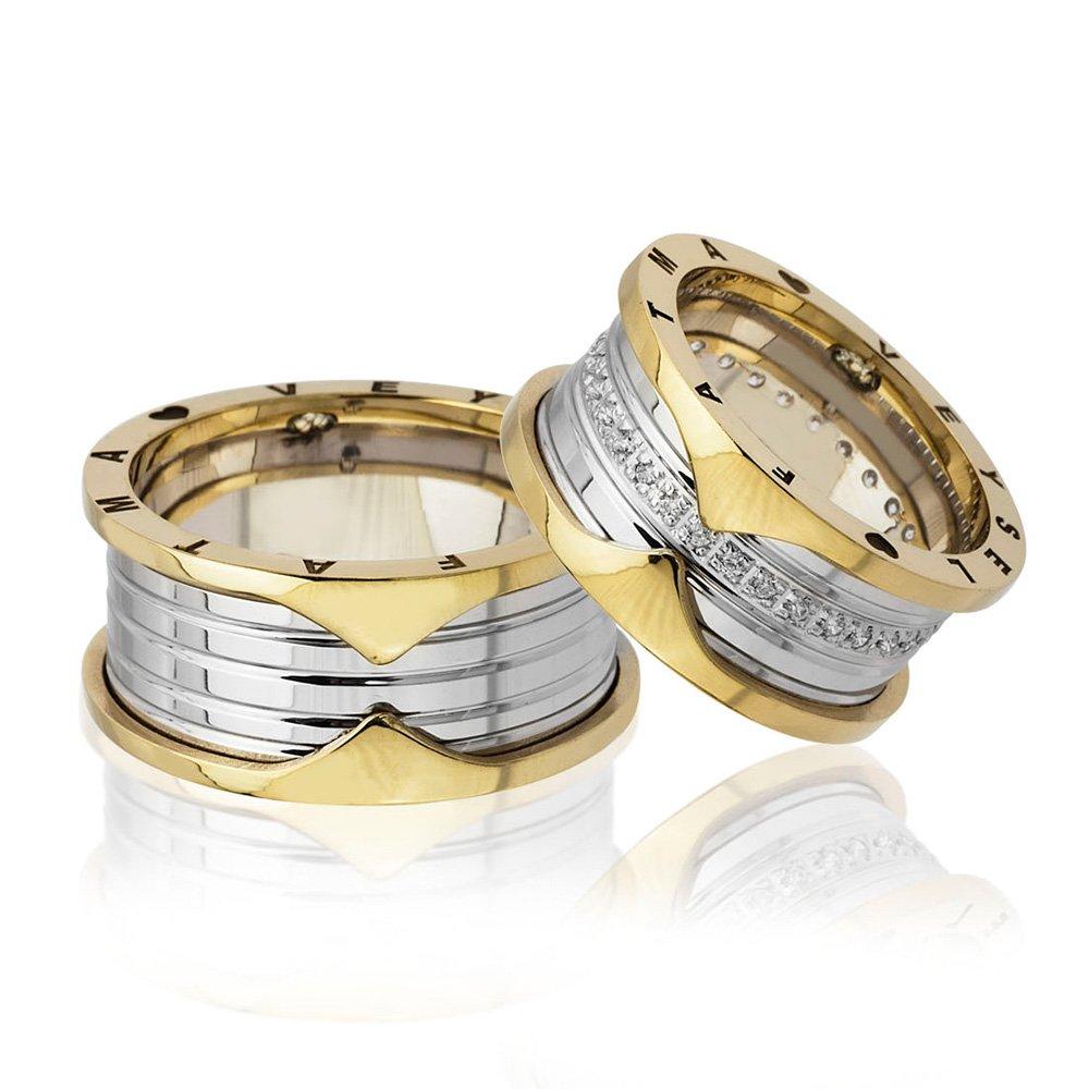 İsim Yazılı Özel Tasarım Gold-Gri Renk 925 Ayar Gümüş Çift Alyans