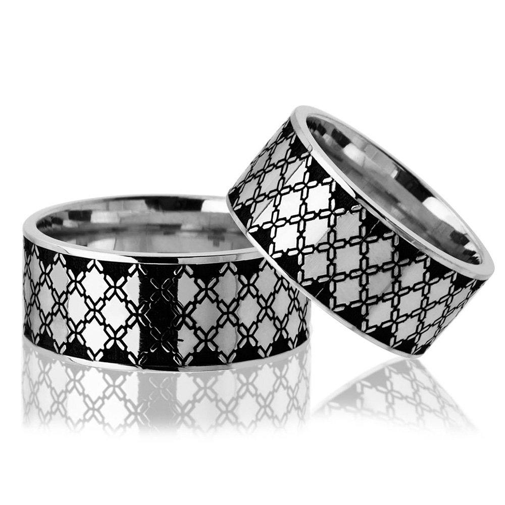 Baklava Desen Motifli 925 Ayar Gümüş Çift Alyans